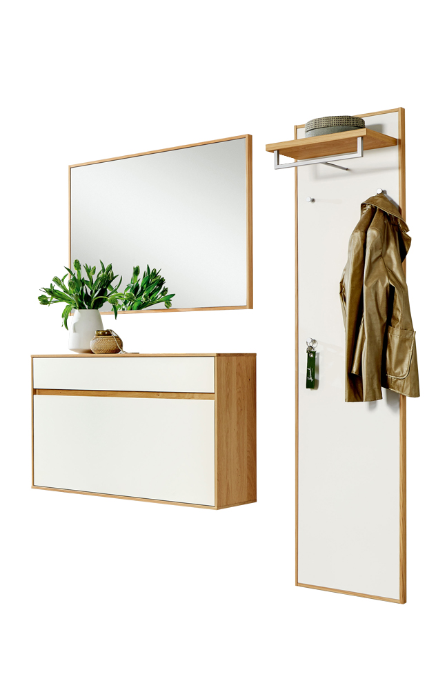 garderobe v100 eiche bianco mit wei er lackfront von voss m bel m bel letz ihr online shop. Black Bedroom Furniture Sets. Home Design Ideas