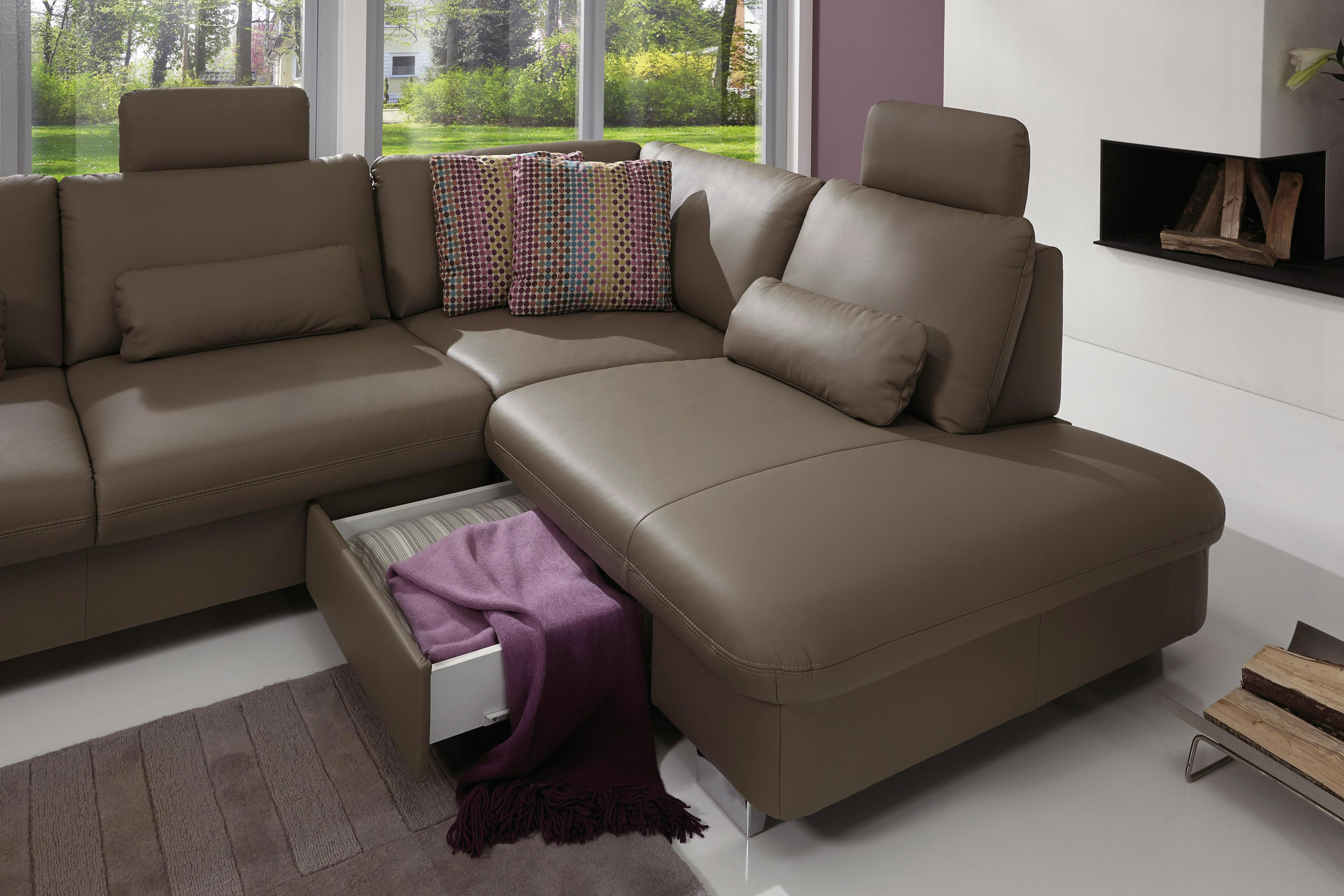 ledersofa whitney l grau polinova polsterm bel m bel. Black Bedroom Furniture Sets. Home Design Ideas