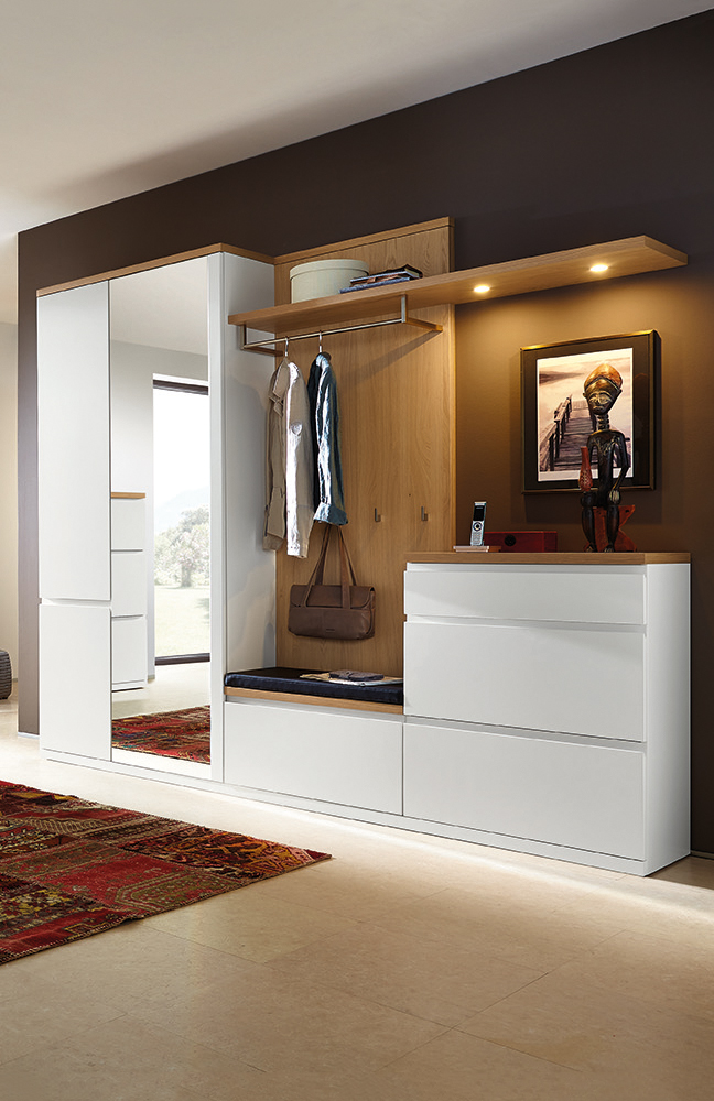 garderobe linaro enjoy in lack wei eiche sand von rmw rietberger m bel letz ihr online shop. Black Bedroom Furniture Sets. Home Design Ideas