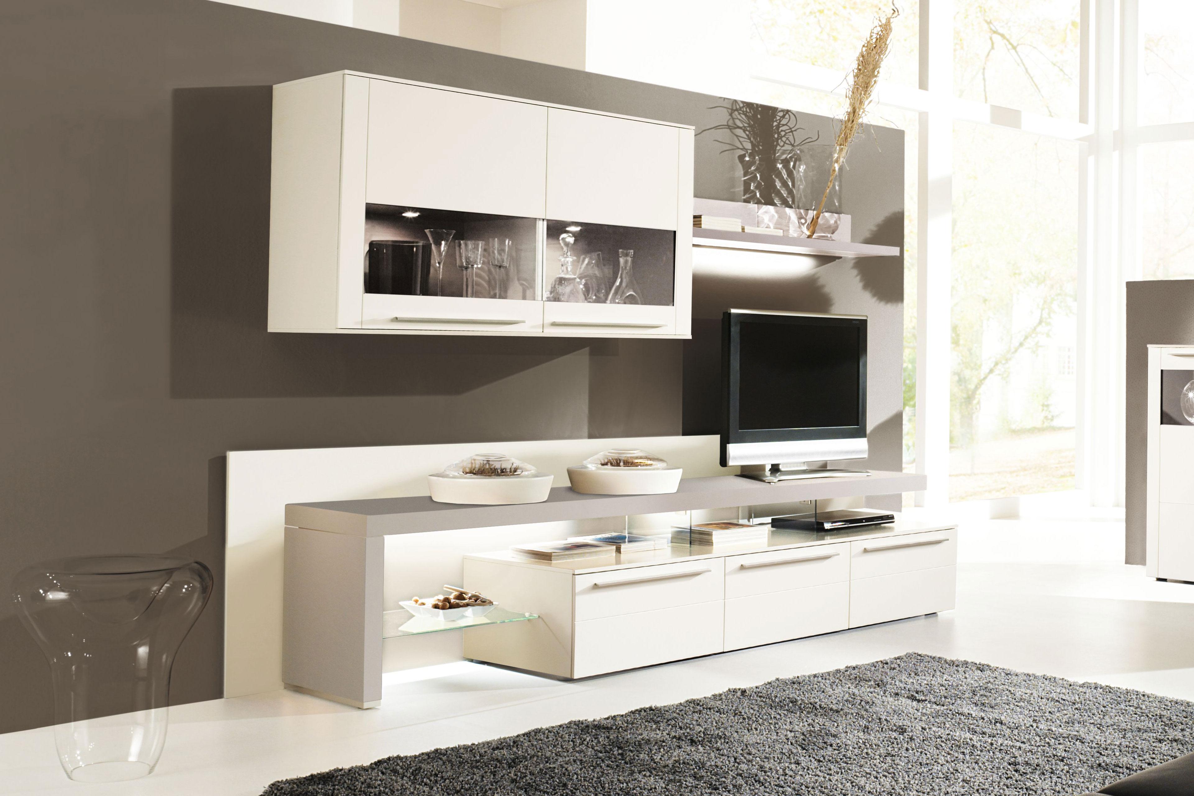 gwinner wohndesign wohnwand bellano be29 wei fango. Black Bedroom Furniture Sets. Home Design Ideas
