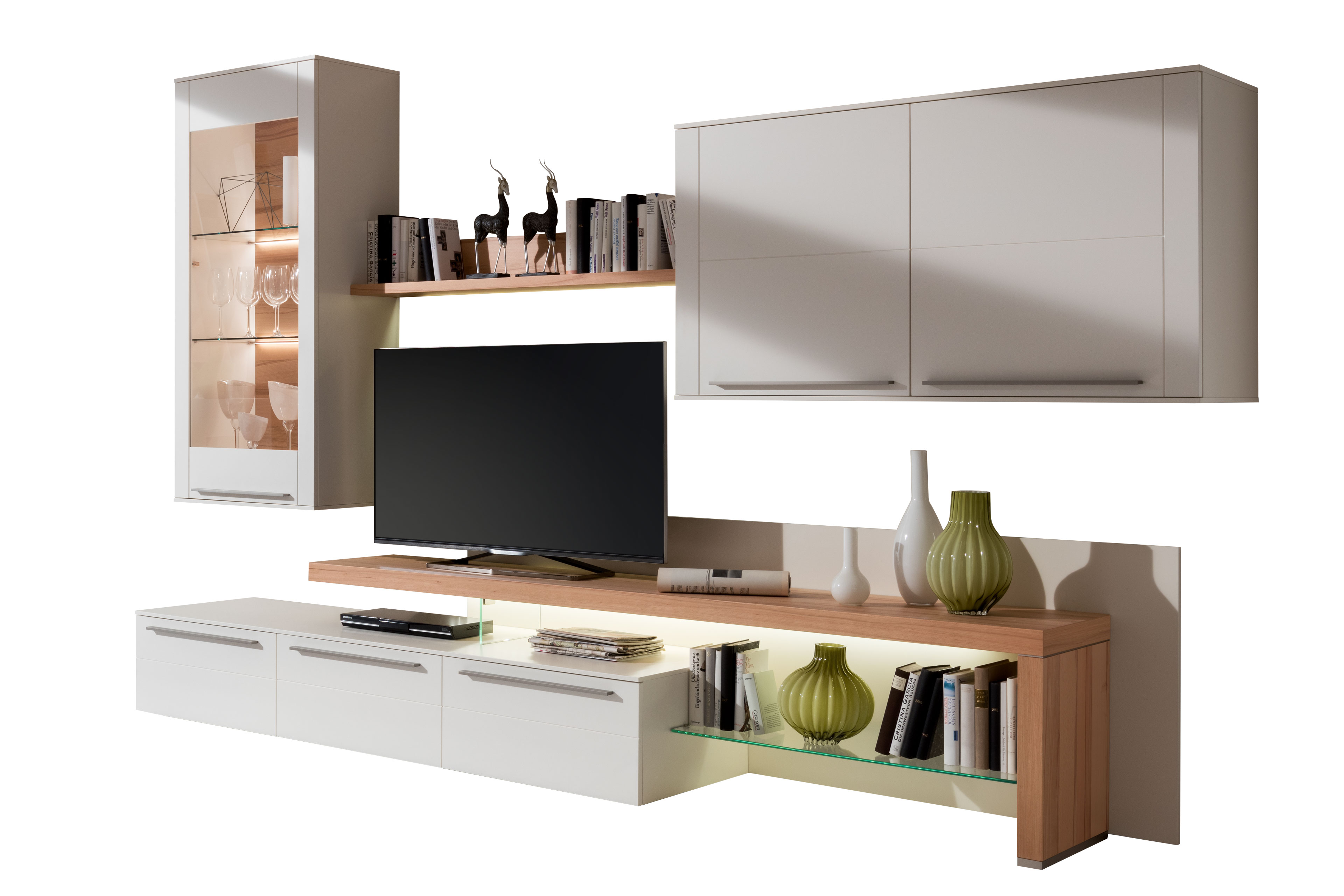 gwinner wohnwand bellano be19 wei kernbuche m bel letz ihr online shop. Black Bedroom Furniture Sets. Home Design Ideas