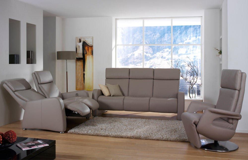 himolla polsterm bel 4016 ledergarnitur in grau braun m bel letz ihr online shop. Black Bedroom Furniture Sets. Home Design Ideas