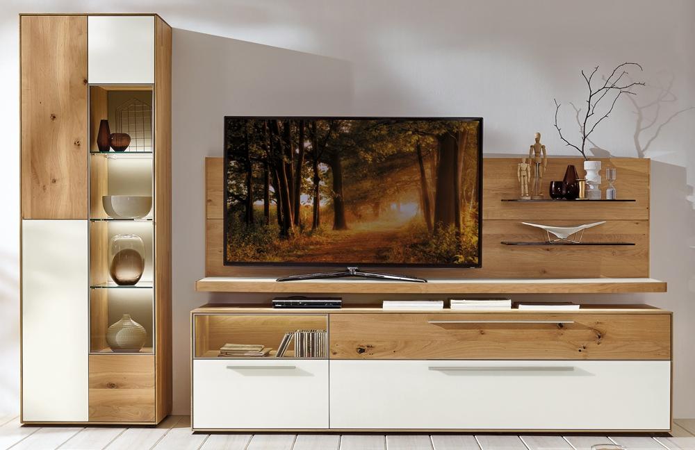 wohnwand calleo 0003 wildeiche mattglas bianco von w stmann markenm bel m bel letz ihr. Black Bedroom Furniture Sets. Home Design Ideas