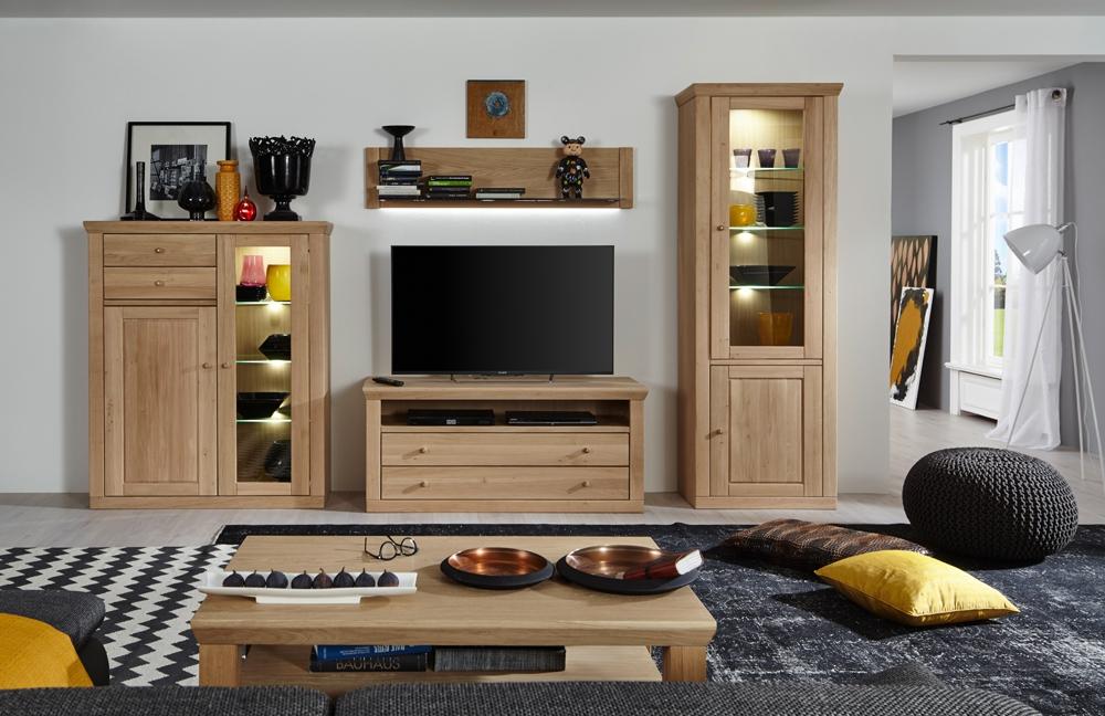 wohnwand xi verona eiche bianco ge lt von mca m bel letz. Black Bedroom Furniture Sets. Home Design Ideas