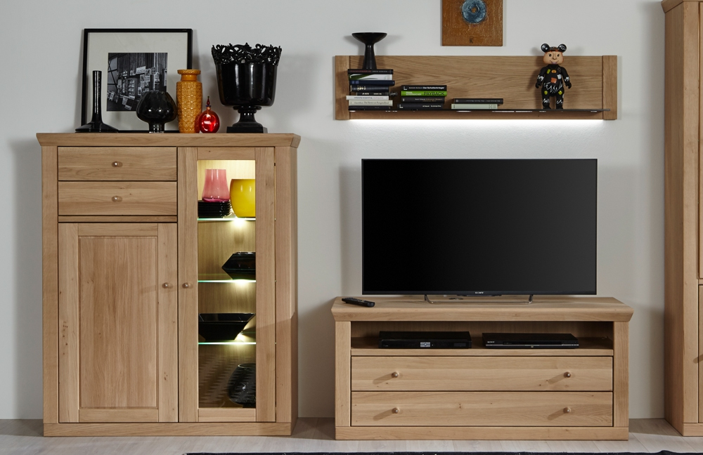 wohnwand xi verona eiche bianco ge lt von mca m bel letz ihr online shop. Black Bedroom Furniture Sets. Home Design Ideas