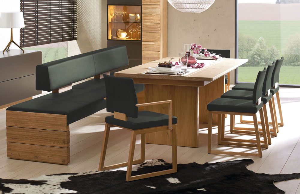 esszimmer v montana wildeiche leder army green von. Black Bedroom Furniture Sets. Home Design Ideas