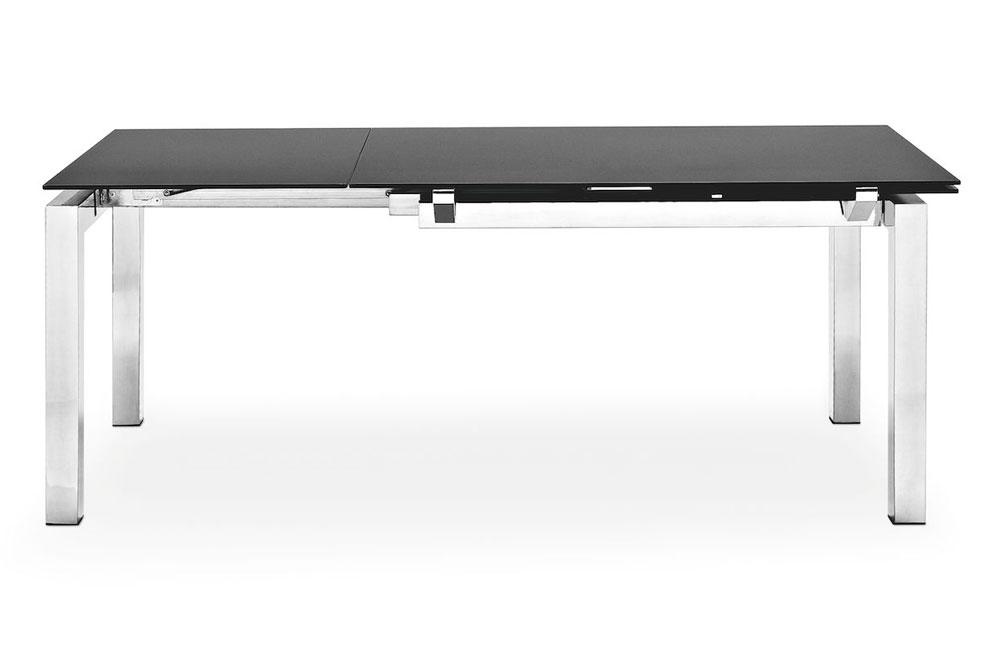 esstisch airport glas schwarz verchromt von calligaris. Black Bedroom Furniture Sets. Home Design Ideas