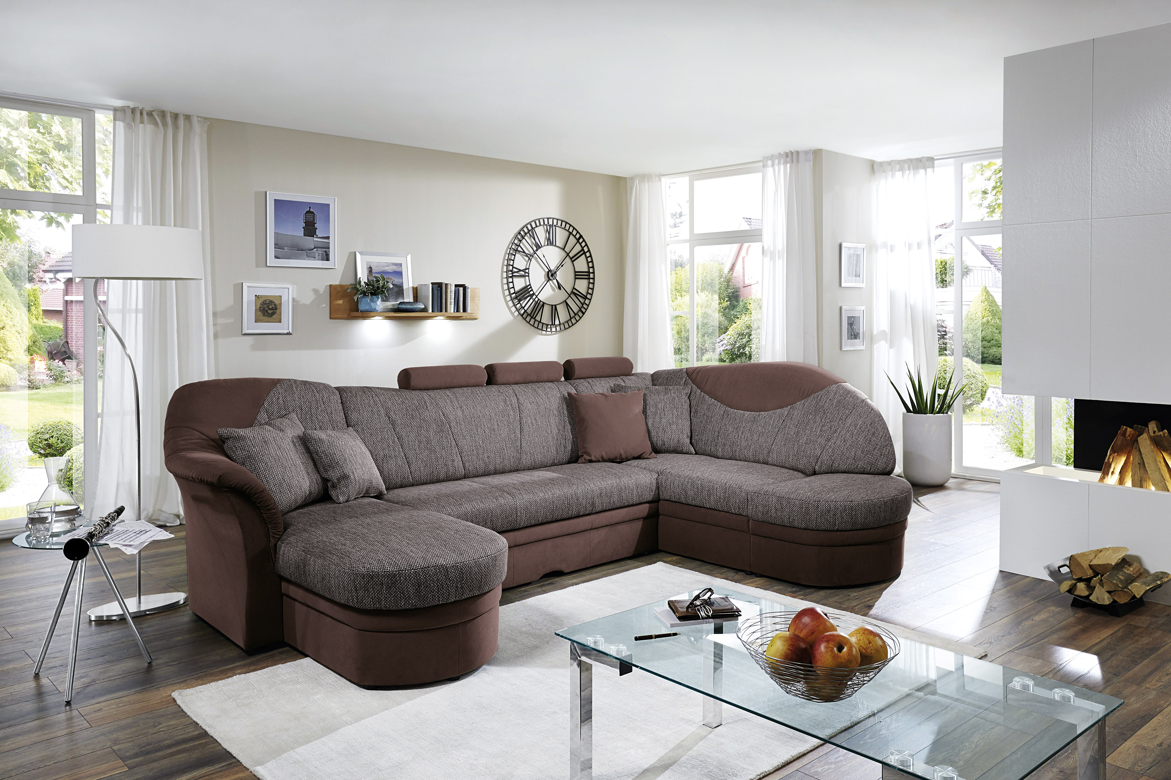 polipol esbo wohnlandschaft grau braun m bel letz ihr online shop. Black Bedroom Furniture Sets. Home Design Ideas