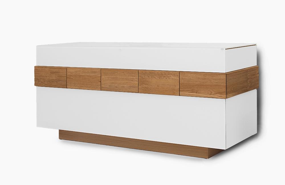 sideboard v montana 160 wildeiche colorglas optiwhite von voglauer m bel letz ihr online shop. Black Bedroom Furniture Sets. Home Design Ideas