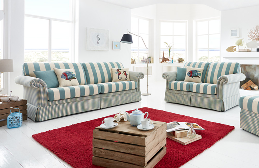 schr no kampen sofagruppe beige gr n gemustert m bel letz ihr online shop. Black Bedroom Furniture Sets. Home Design Ideas