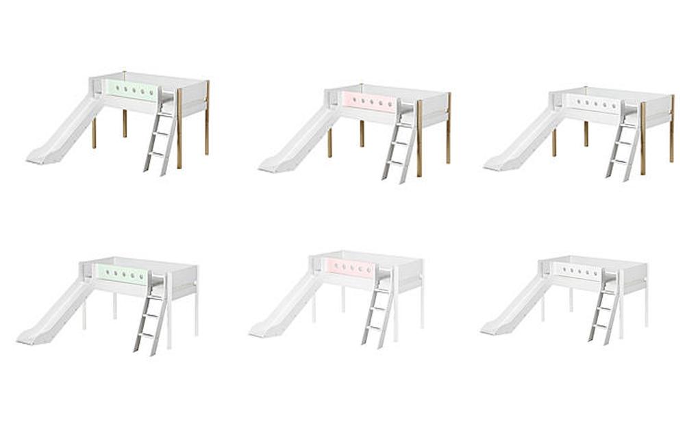 flexa white hochbett mdf wei mit birkenpfosten m bel letz ihr online shop. Black Bedroom Furniture Sets. Home Design Ideas