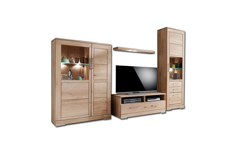 pure natur wohnwand clemet rustikale asteiche bianco m bel letz ihr online shop. Black Bedroom Furniture Sets. Home Design Ideas