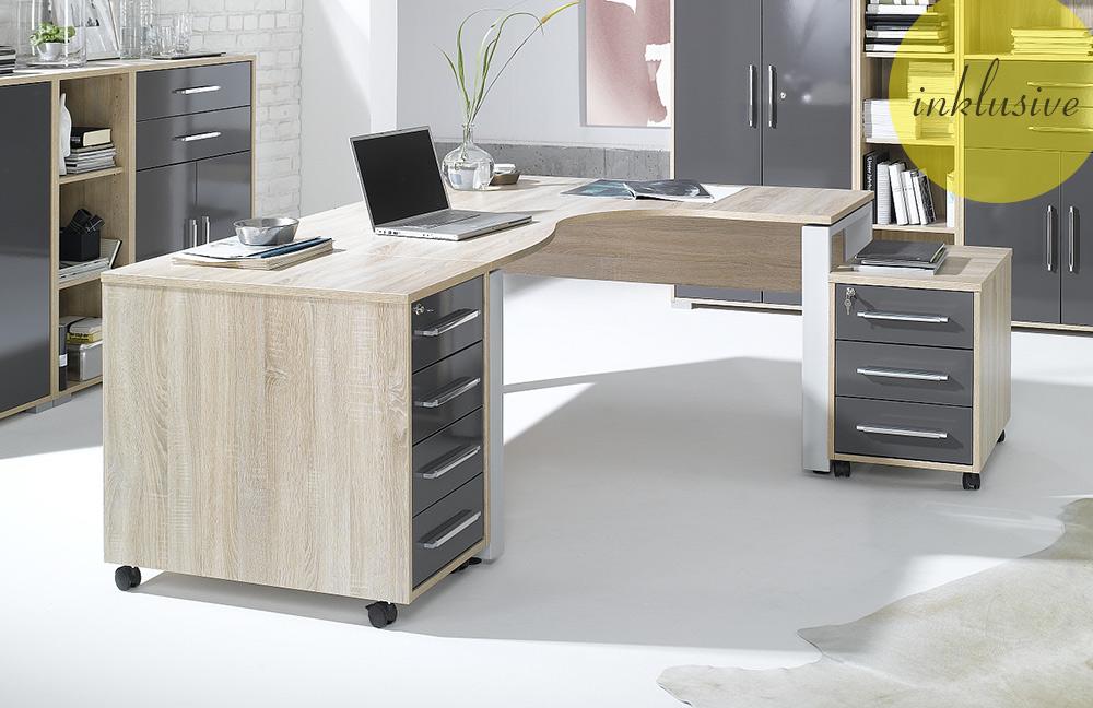 System von Maja Möbel  Büromöbel Sonoma Eiche Hochglanz grau