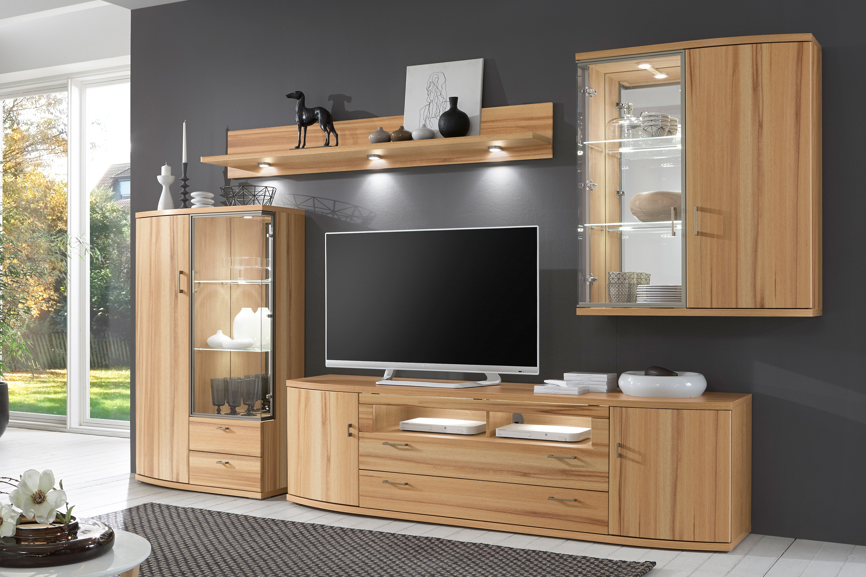ideal m bel wohnwand riva 352 kernbuche m bel letz ihr online shop. Black Bedroom Furniture Sets. Home Design Ideas