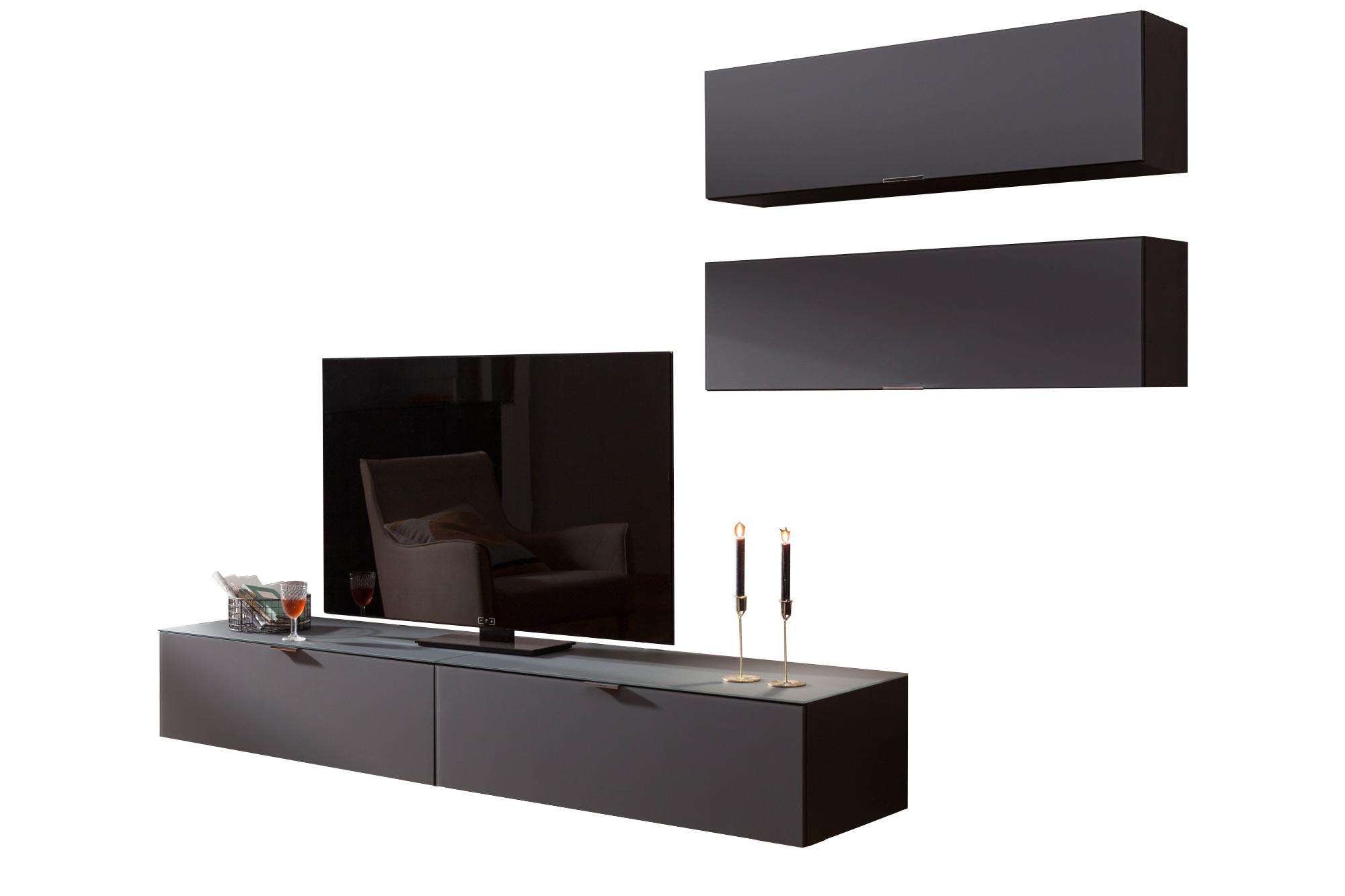 CS Schmalmöbel Wohnwand Cleo Special Edition grau schwarz