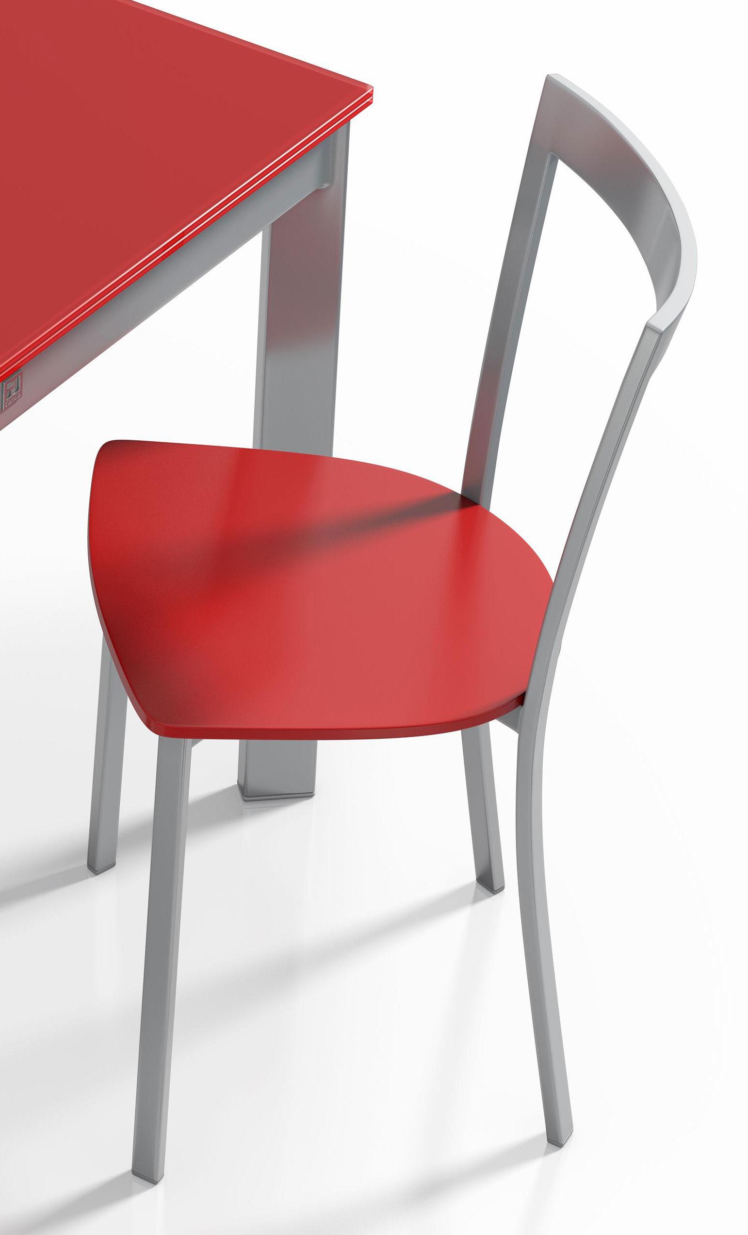 esstisch poker glas rot stahl von cancio m bel letz. Black Bedroom Furniture Sets. Home Design Ideas