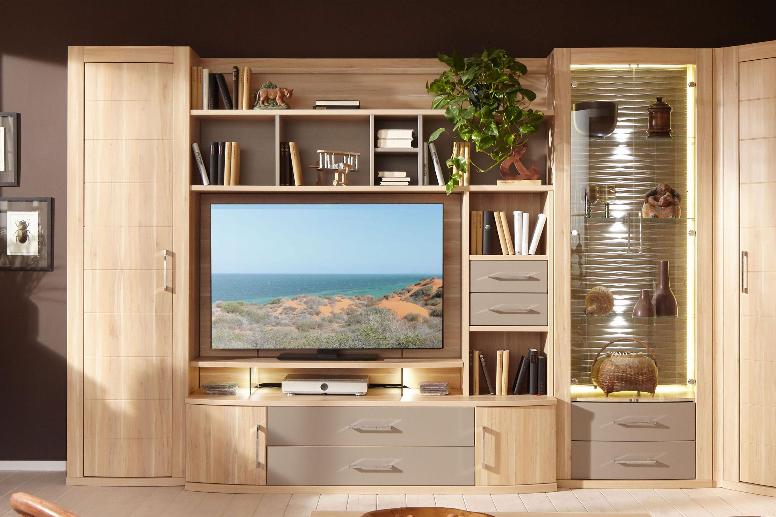 prenneis wohnwand mailand plus portos 3547 in apfelbaum camel m bel letz ihr online shop. Black Bedroom Furniture Sets. Home Design Ideas