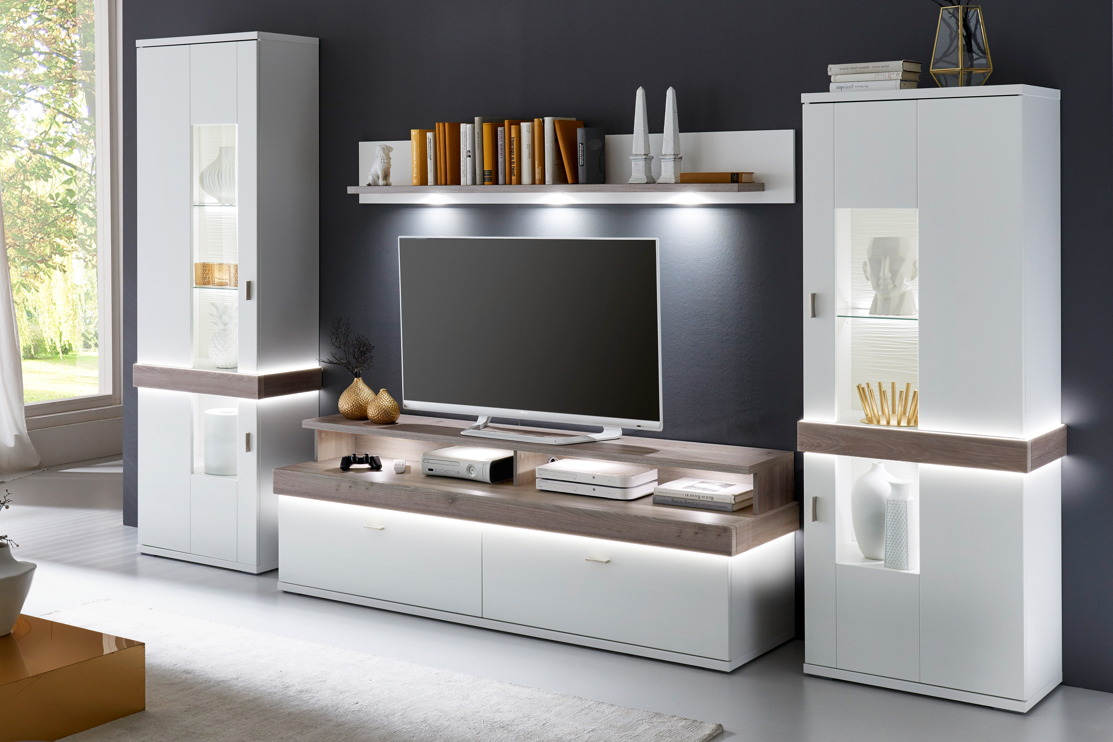 ideal m bel wohnwand albi wei nelson nordic m bel letz ihr online shop. Black Bedroom Furniture Sets. Home Design Ideas