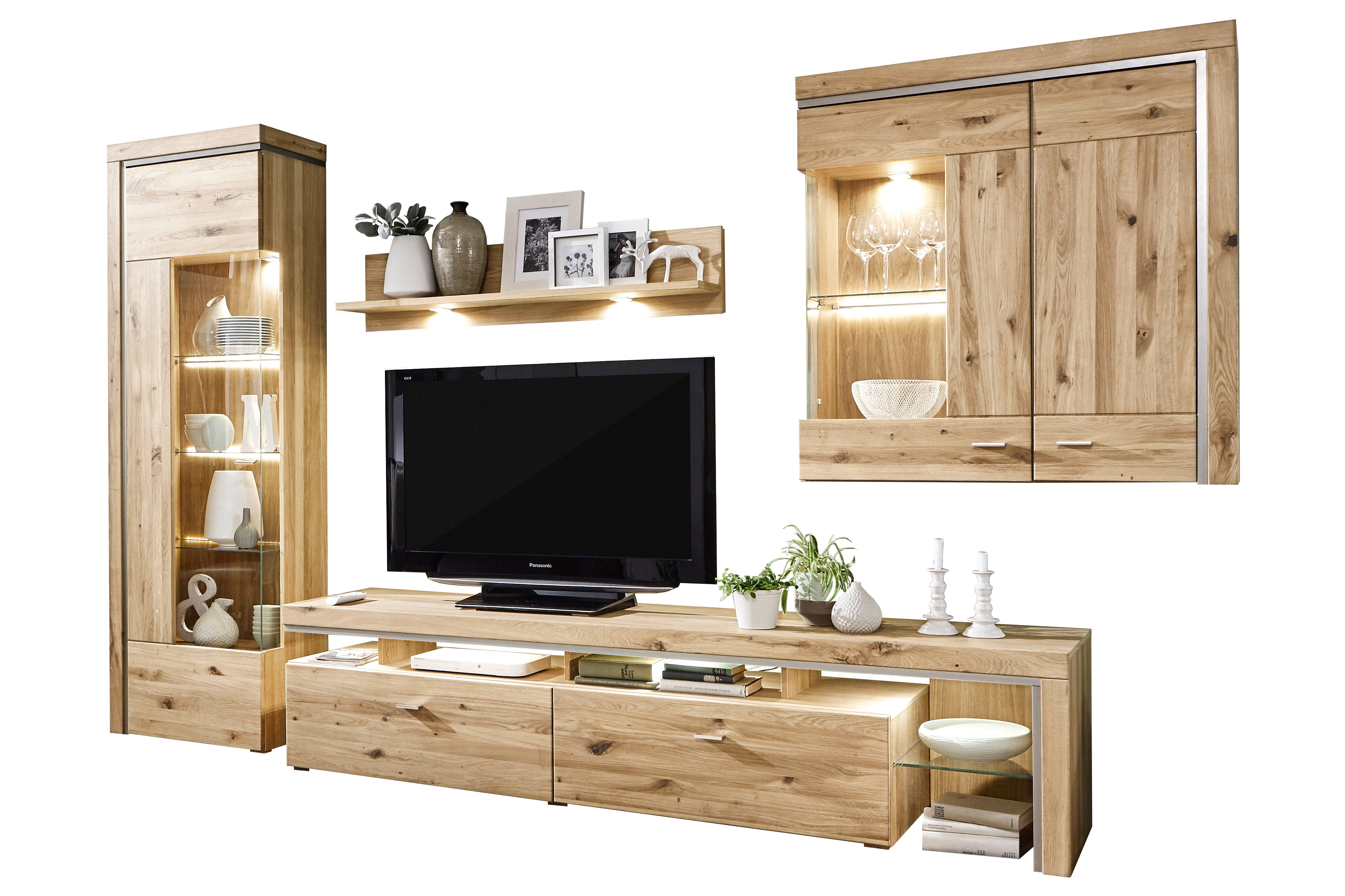 ideal m bel wohnwand bruni alteiche m bel letz ihr online shop. Black Bedroom Furniture Sets. Home Design Ideas