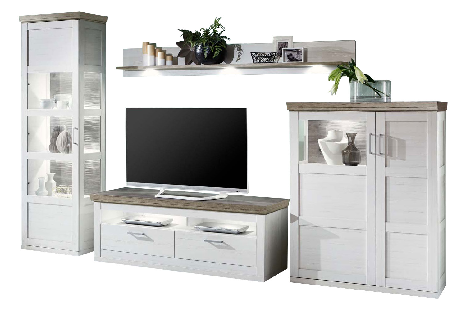 ideal m bel wohnwand bana 28 pino aurelio san remo eiche m bel letz ihr online shop. Black Bedroom Furniture Sets. Home Design Ideas