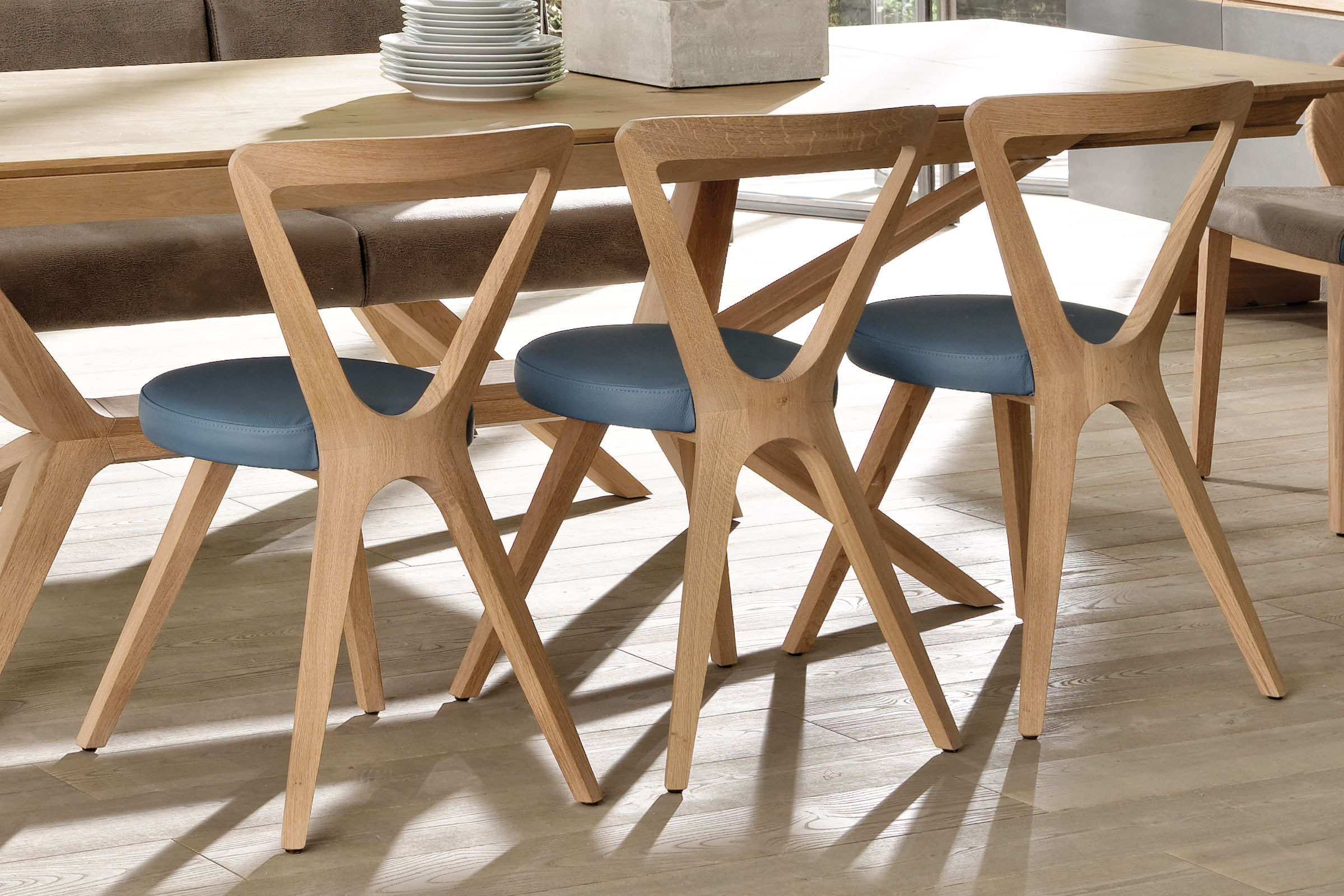 voglauer esszimmer v organo living v4 wildeiche leder m bel letz ihr online shop. Black Bedroom Furniture Sets. Home Design Ideas