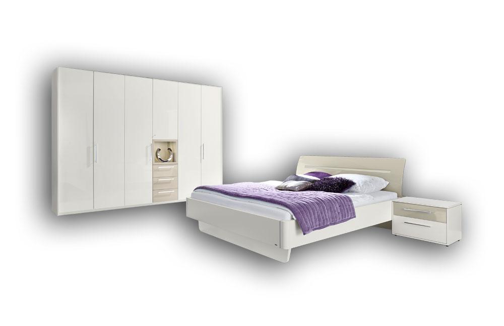 loddenkemper meo schlafzimmer hochglanz   möbel letz - ihr online-shop - Schlafzimmer Set Hochglanz Weis