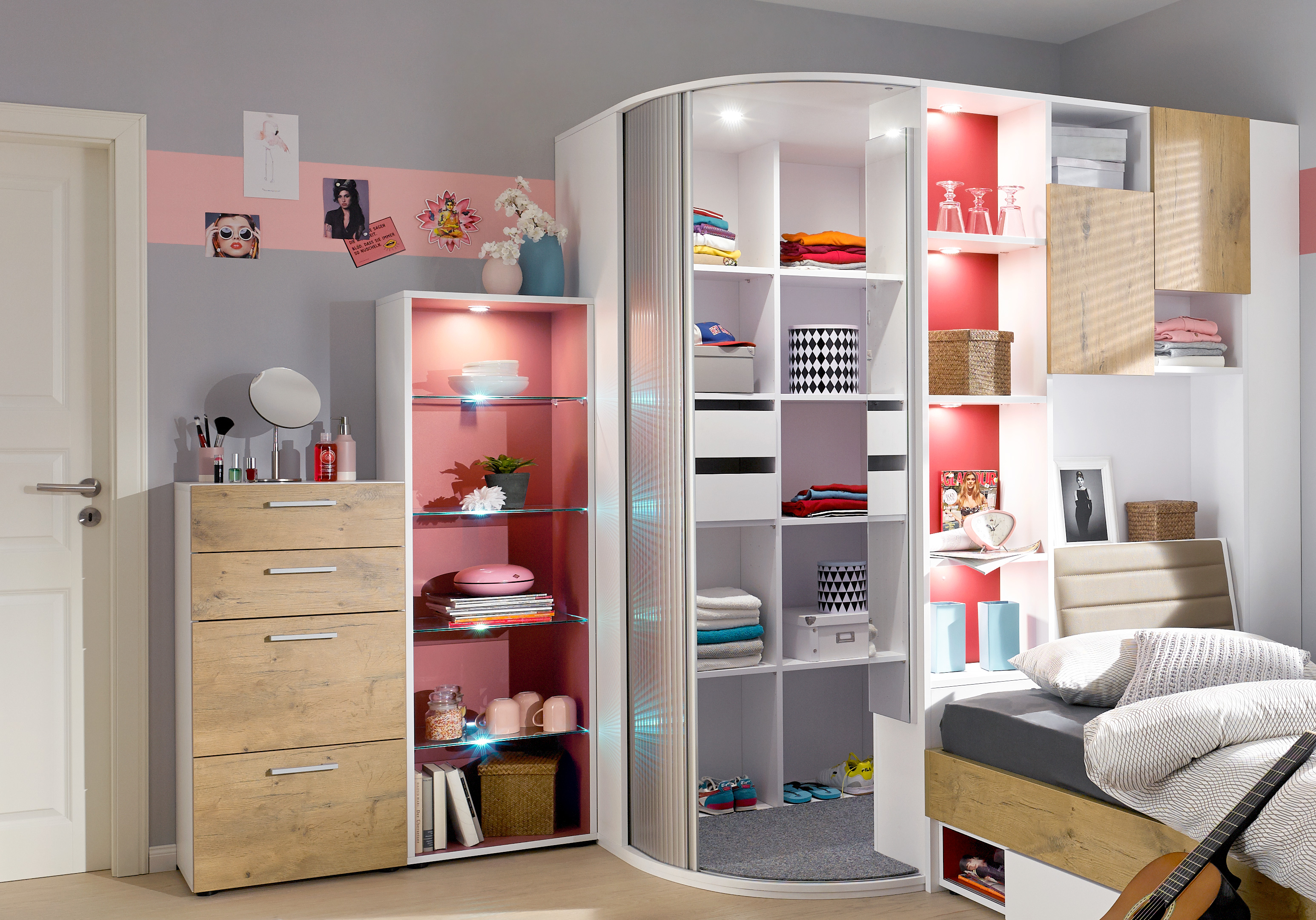jugendzimmer von rudolf high 5 eckschrank liege. Black Bedroom Furniture Sets. Home Design Ideas