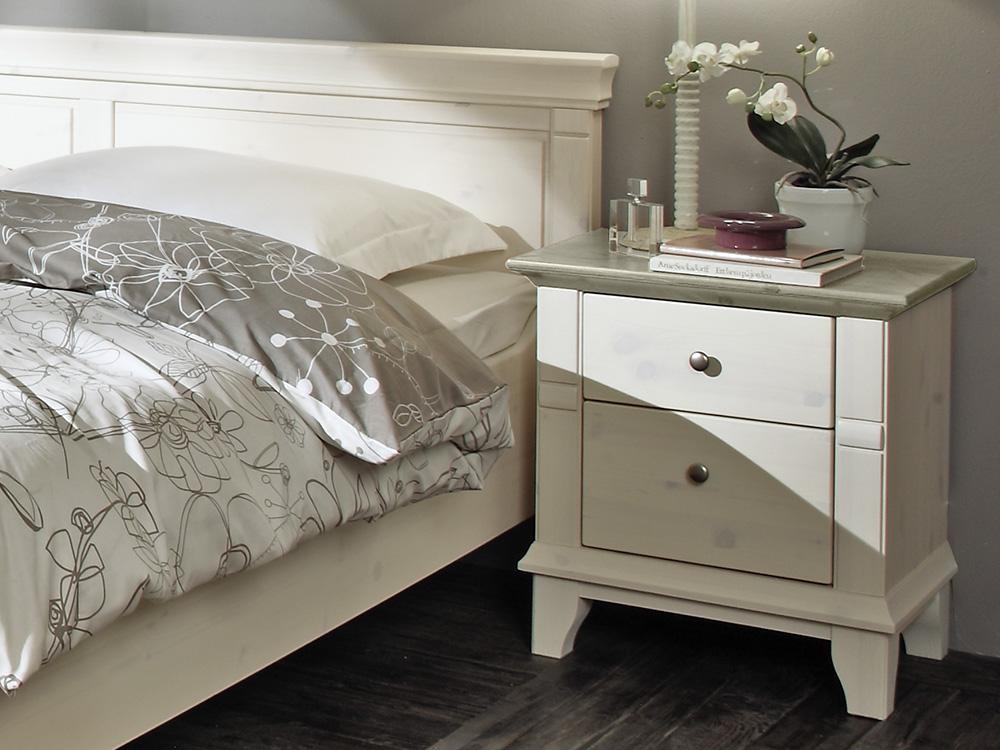 lmie georgia kiefer massiv weiß - grau | möbel letz - ihr online-shop - Schlafzimmer Grau Holz