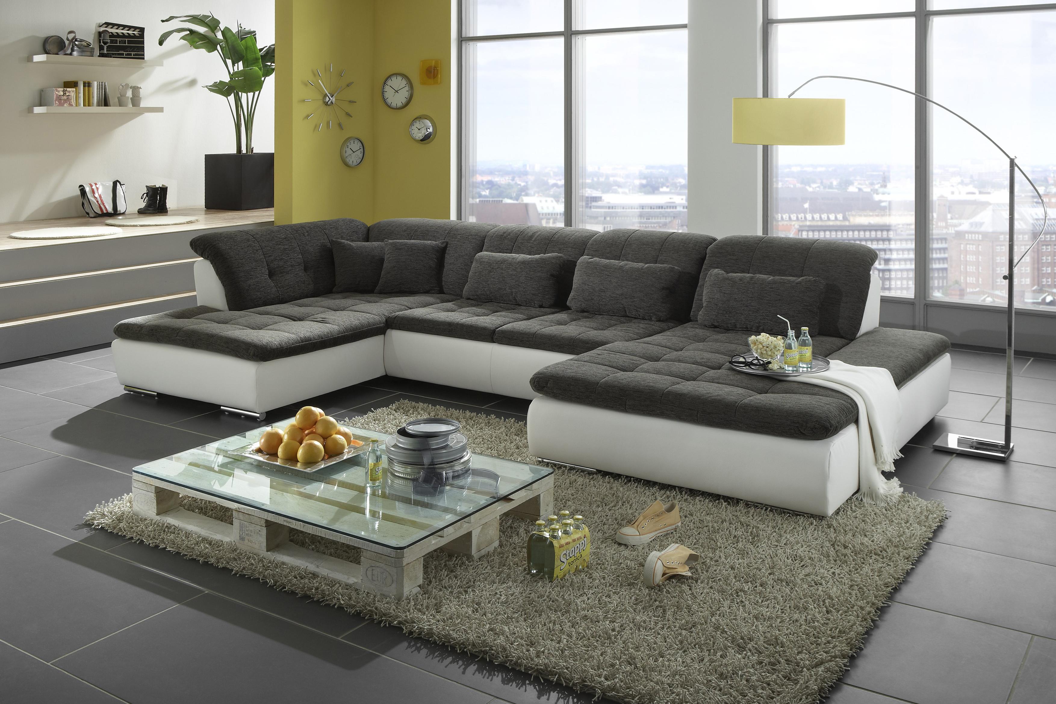 megapol couchgarnitur lomo wei grau m bel letz ihr online shop. Black Bedroom Furniture Sets. Home Design Ideas