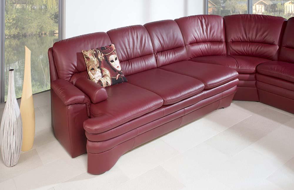 pm oelsa capri ledersofa in weinrot m bel letz ihr online shop. Black Bedroom Furniture Sets. Home Design Ideas