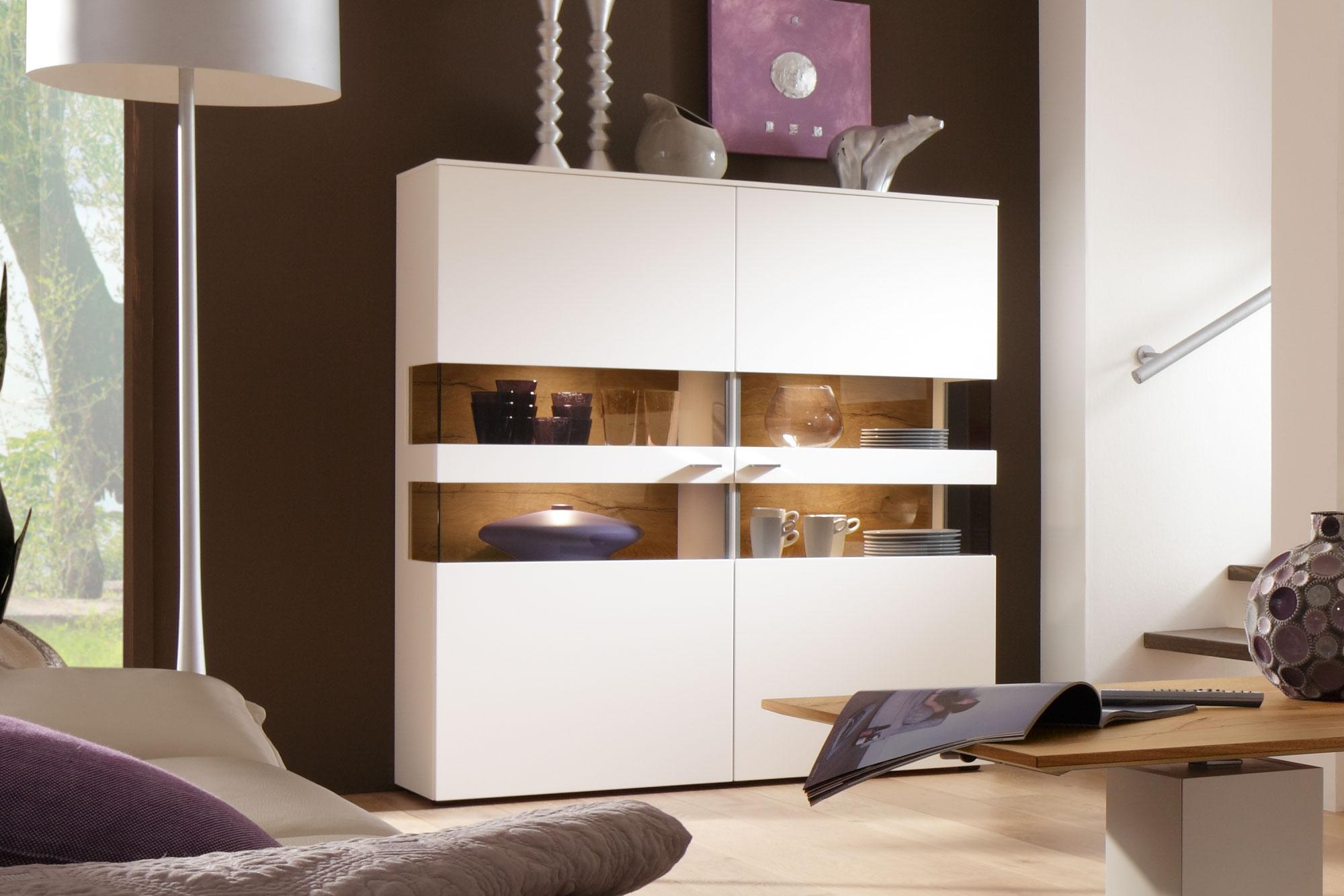 gwinner wohndesign wohnwand felino fe3 wei astnussbaum natur m bel letz ihr online shop. Black Bedroom Furniture Sets. Home Design Ideas