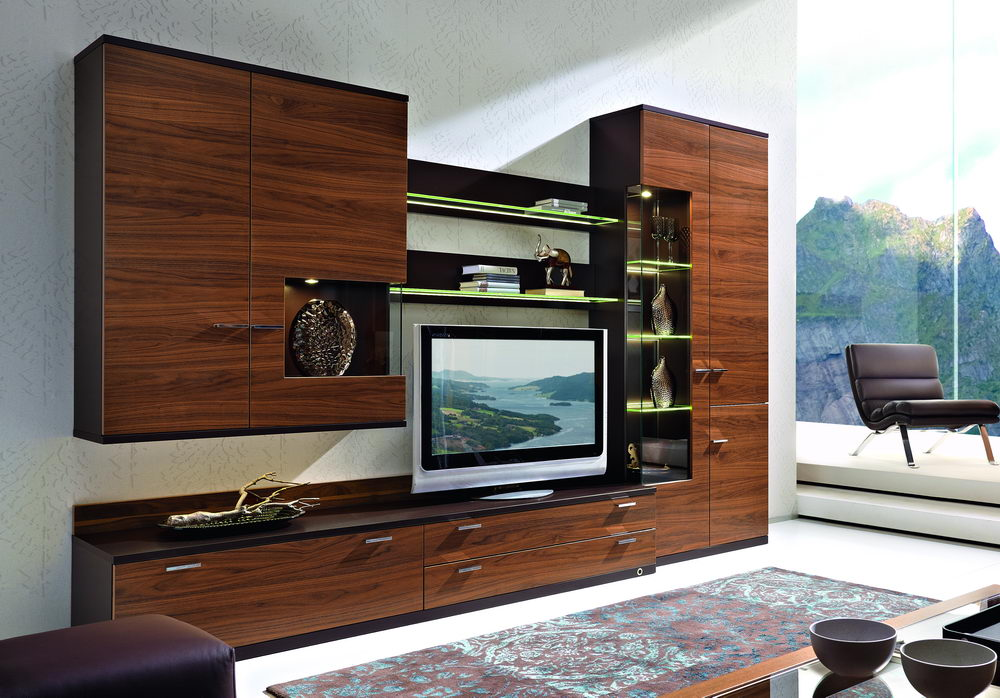 rietberger wohnwand lodano braun nussbaum m bel letz ihr online shop. Black Bedroom Furniture Sets. Home Design Ideas