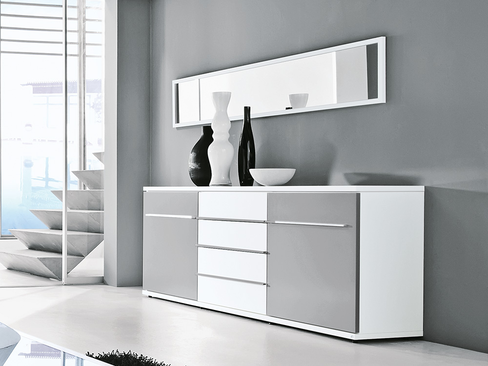 Loddenkemper Wohnwand Kito 9815 Weiß/ Grau Möbel Letz - Ihr Online ...