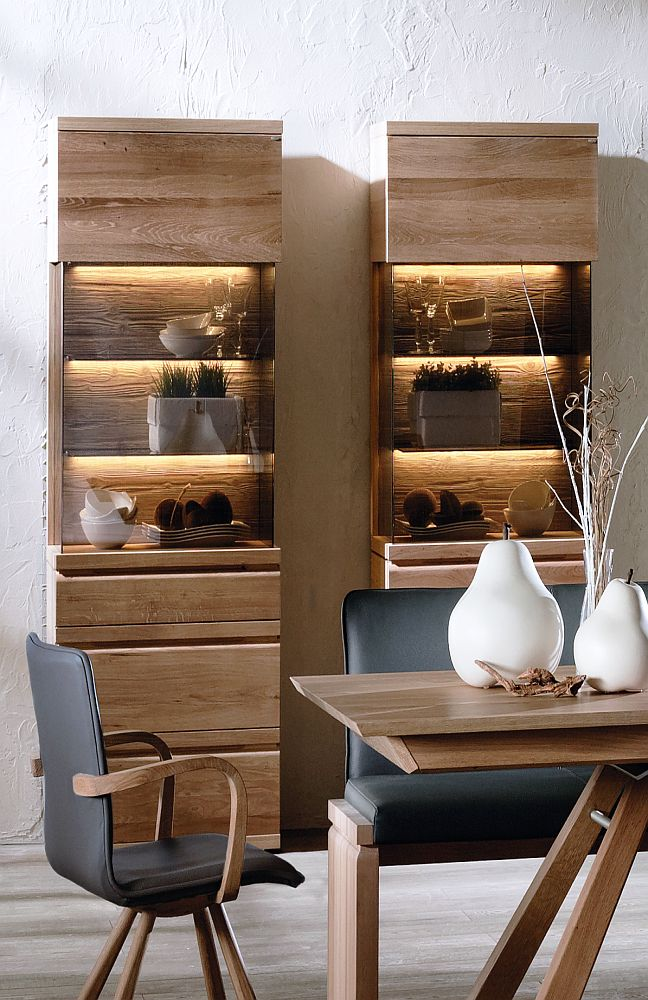 esszimmer v loft wildeiche ge lt leder schwarz von voglauer m bel letz ihr online shop. Black Bedroom Furniture Sets. Home Design Ideas