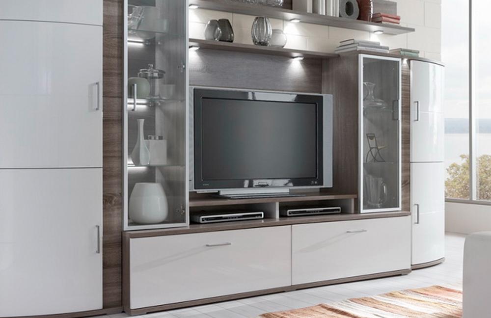 wohnwand teno 100 in eiche tr ffel wei von ideal m bel. Black Bedroom Furniture Sets. Home Design Ideas