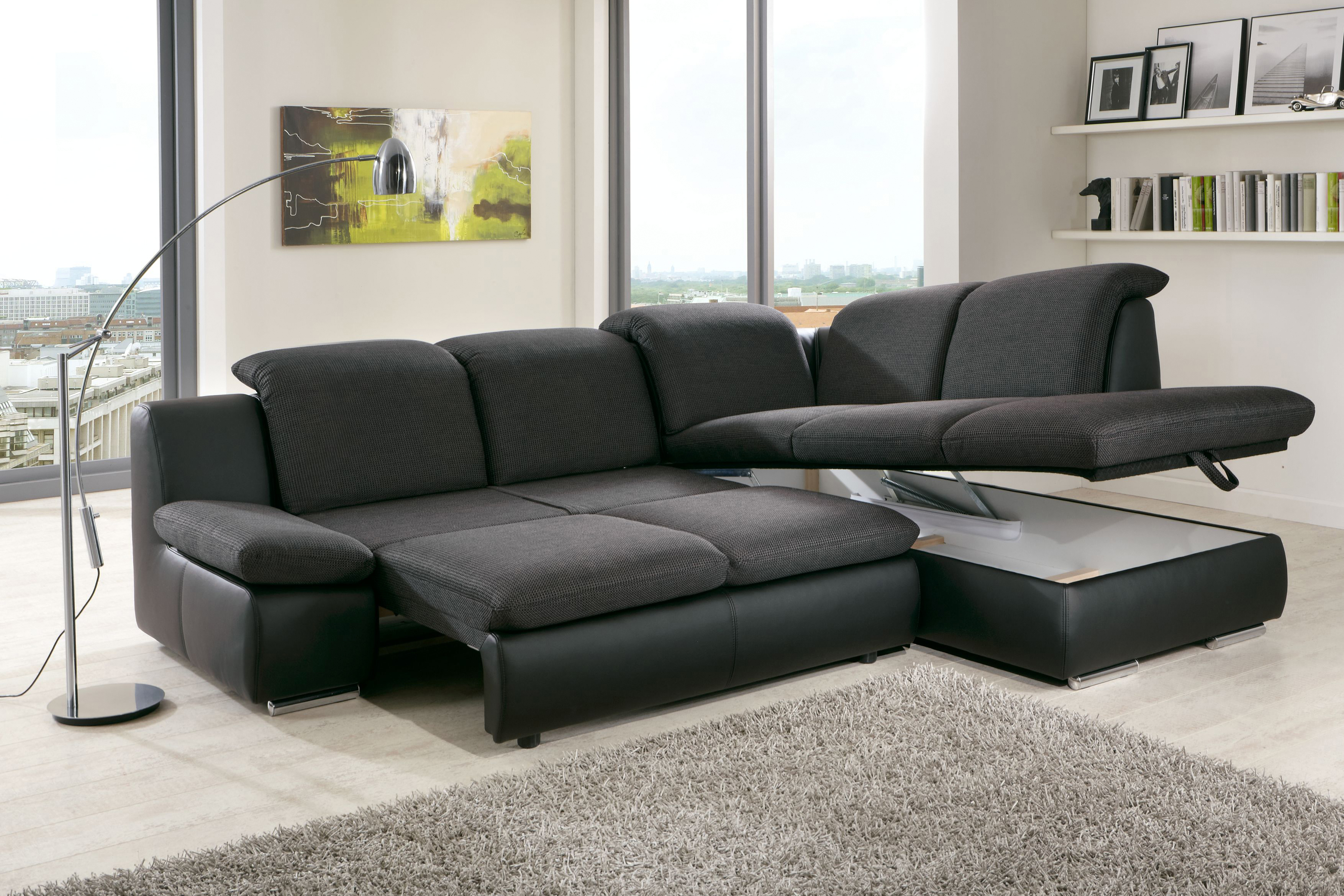 ecksofa isona in anthrazit schwarz von poco m bel letz ihr online shop. Black Bedroom Furniture Sets. Home Design Ideas