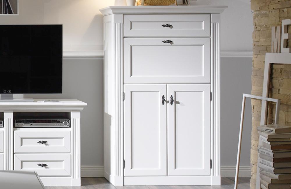 wohnwand maisonette vintage wei mit sekret r von wehrsdorfer m bel letz ihr online shop. Black Bedroom Furniture Sets. Home Design Ideas