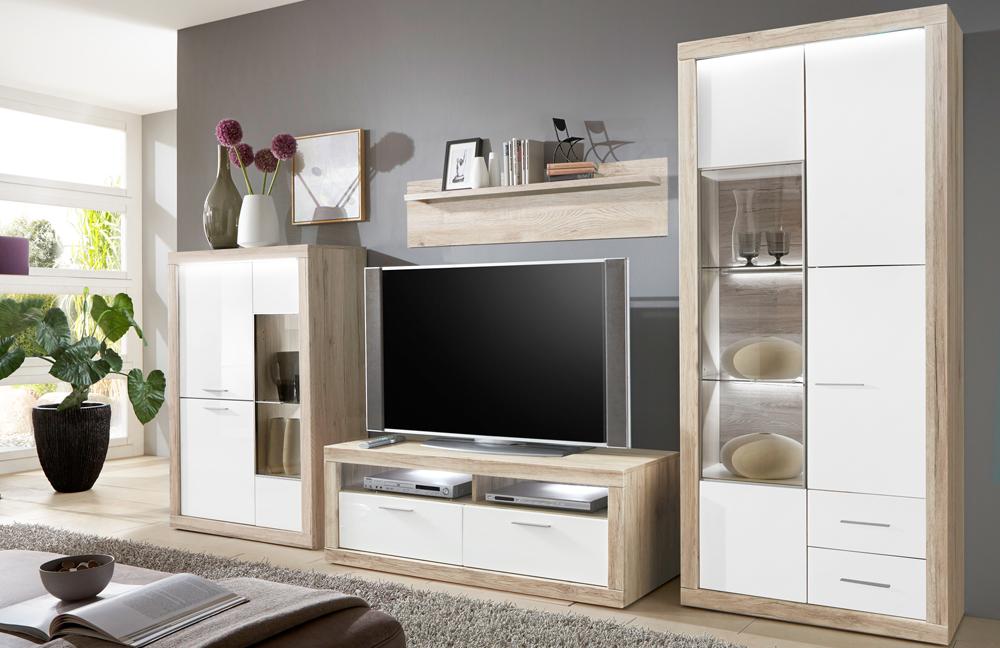 wohnwand aruba 24 wei eiche san remo sand von ideal. Black Bedroom Furniture Sets. Home Design Ideas