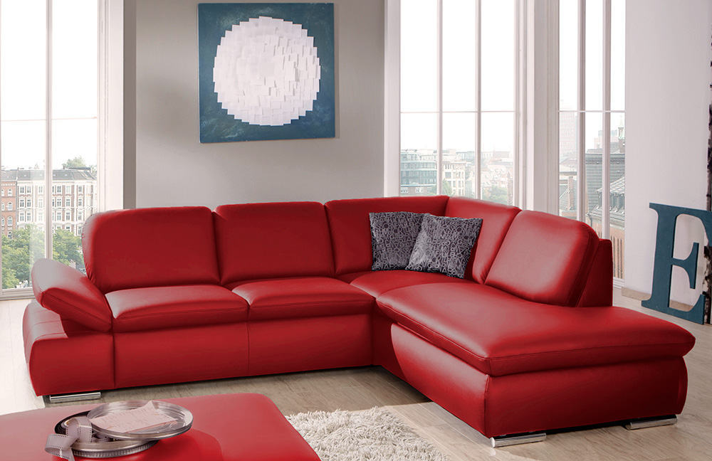 ledersofa vigo in rot von poco m bel letz ihr online shop. Black Bedroom Furniture Sets. Home Design Ideas