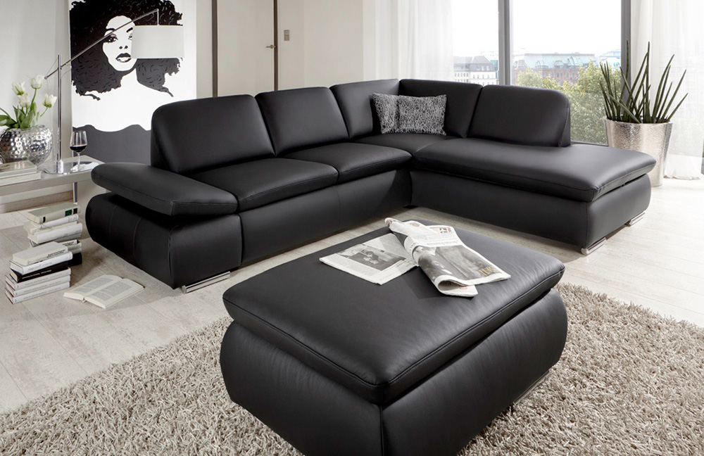 ledersofa schwarz vigo von poco m bel letz ihr online shop. Black Bedroom Furniture Sets. Home Design Ideas