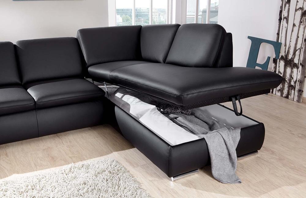 ledersofa schwarz vigo von poco m bel letz ihr online shop. Black Bedroom Furniture Sets. Home Design Ideas