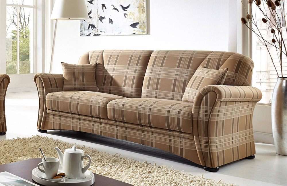 schr no berlin sofa duo hellbraun kariert m bel letz ihr online shop. Black Bedroom Furniture Sets. Home Design Ideas
