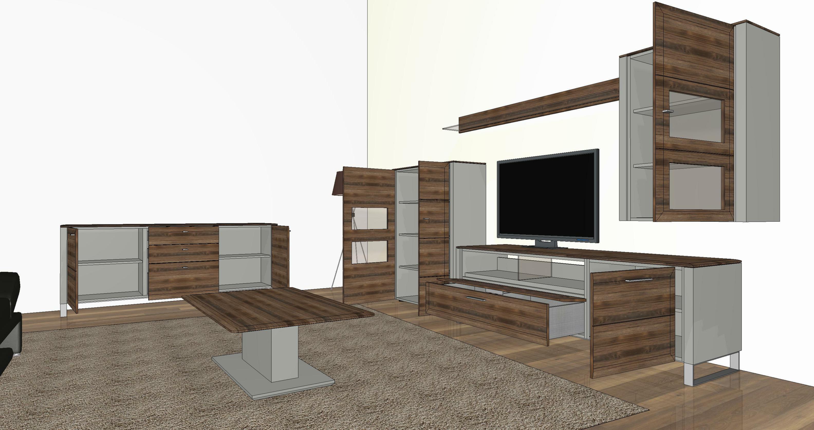 gwinner wohndesign wohnwand solid gorden sl5 nussbaum. Black Bedroom Furniture Sets. Home Design Ideas