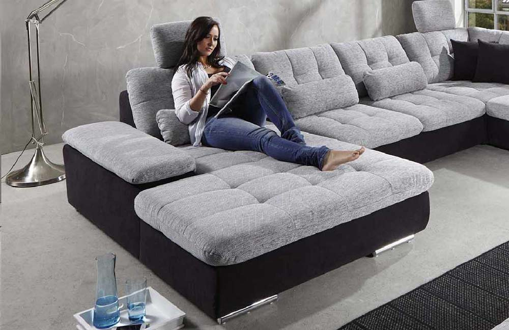 megapol power pleasure wohnlandschaft wei anthrazit. Black Bedroom Furniture Sets. Home Design Ideas