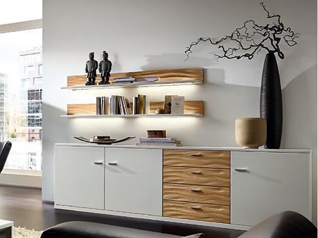 wohnwand cremona 21300 lack wei mit natur line akzenten in eiche sand von rietberger m bel. Black Bedroom Furniture Sets. Home Design Ideas