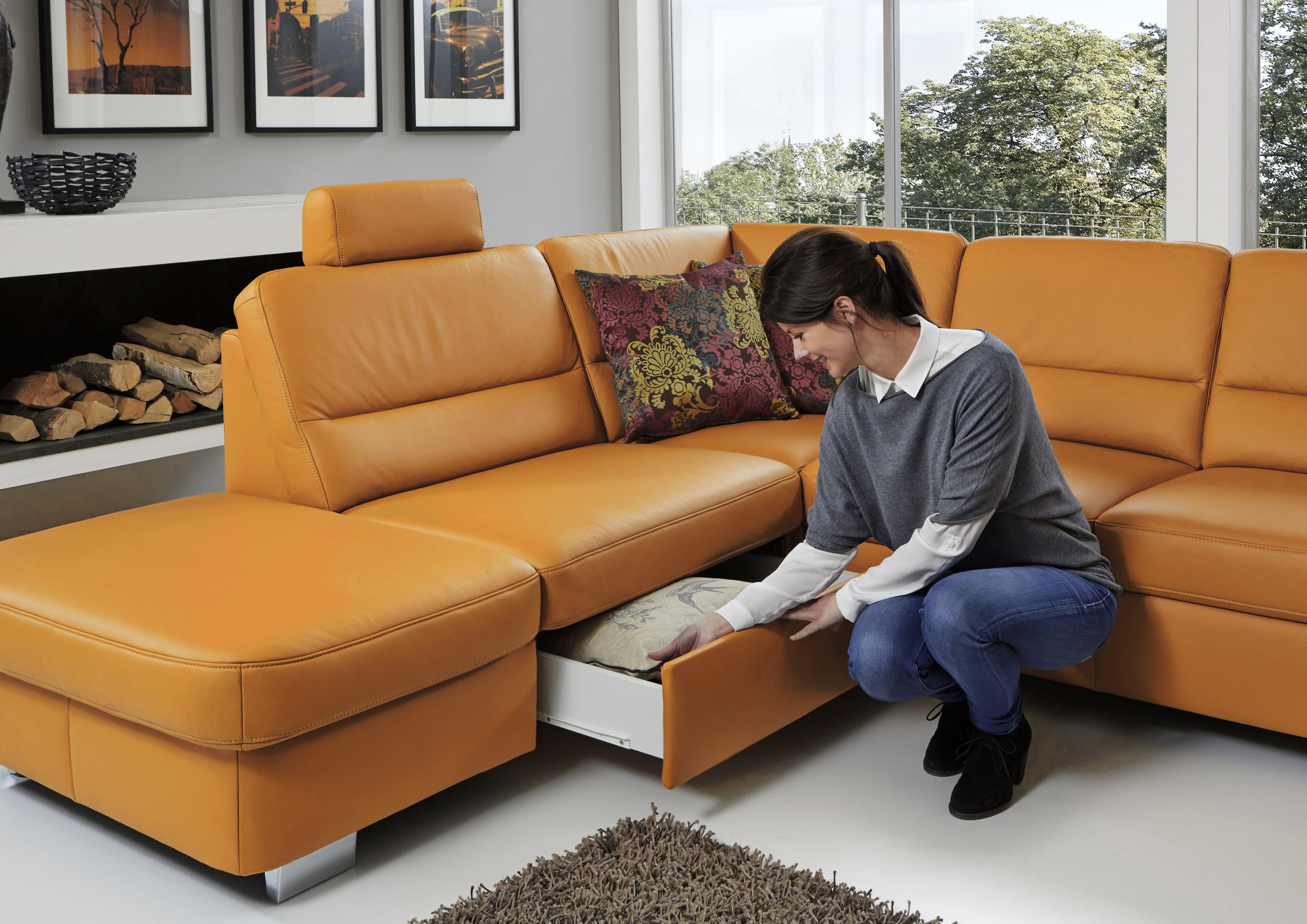 ledergarnitur andorra in curry von polinova polsterm bel. Black Bedroom Furniture Sets. Home Design Ideas