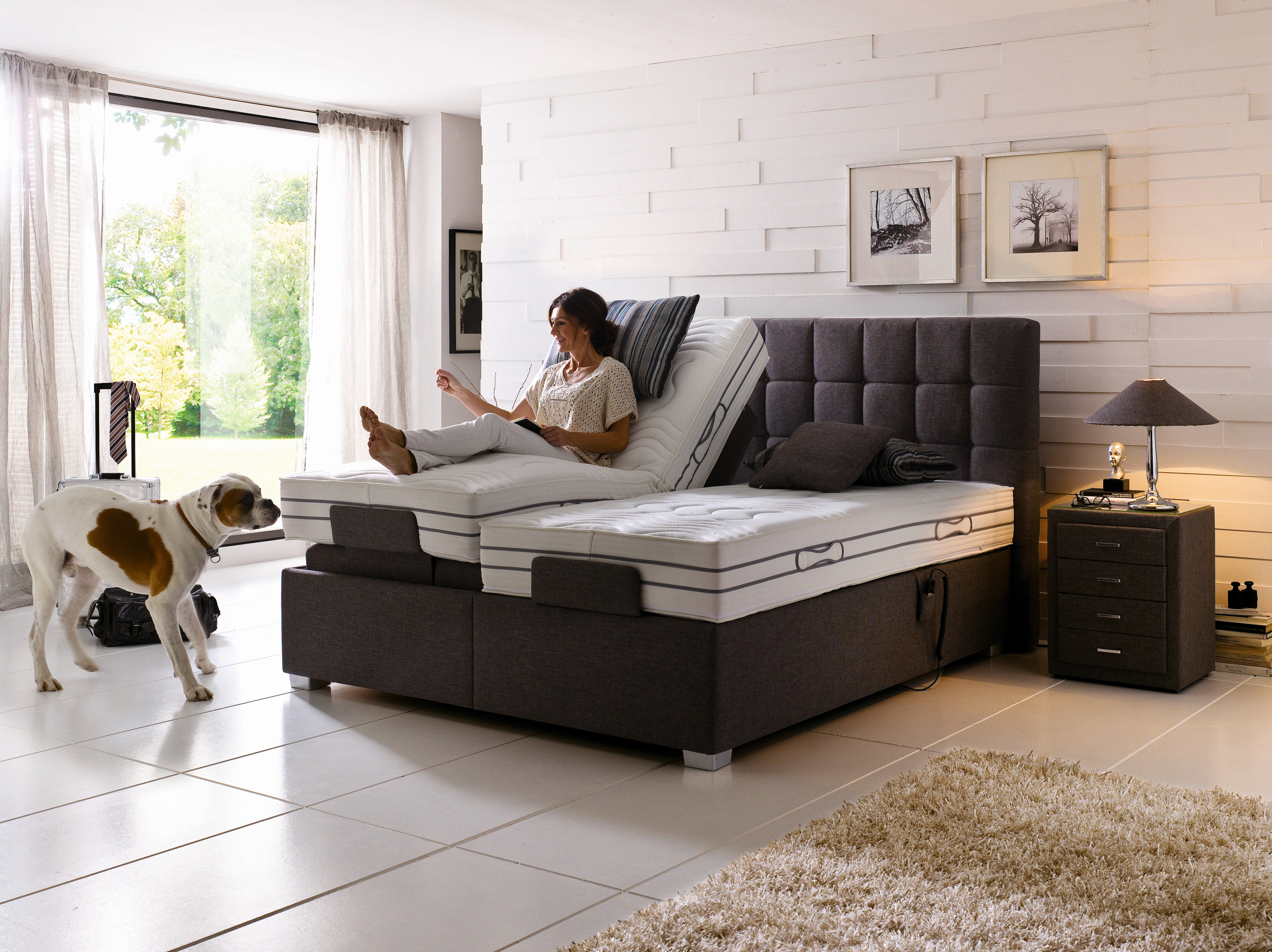 oschmann boxspringbett belcanto paris mit motor in braun m bel letz. Black Bedroom Furniture Sets. Home Design Ideas
