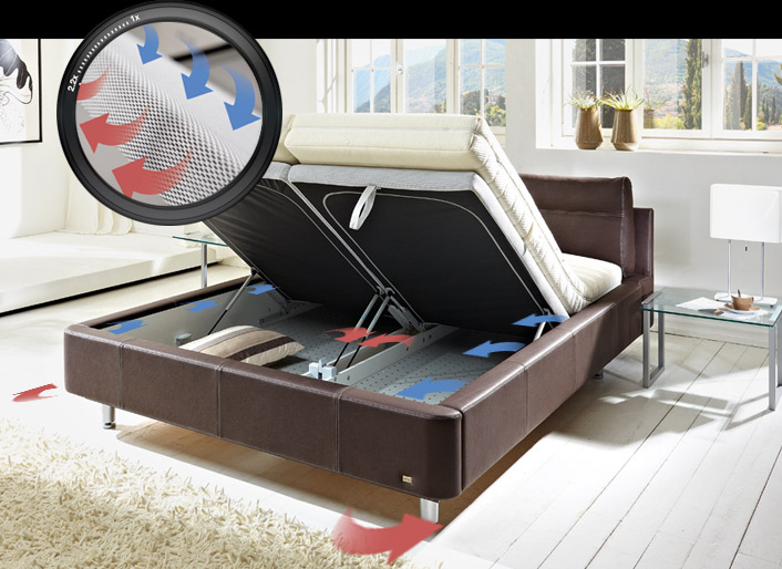 ruf polsterbett casa in grau mit kopfteilverstellung. Black Bedroom Furniture Sets. Home Design Ideas