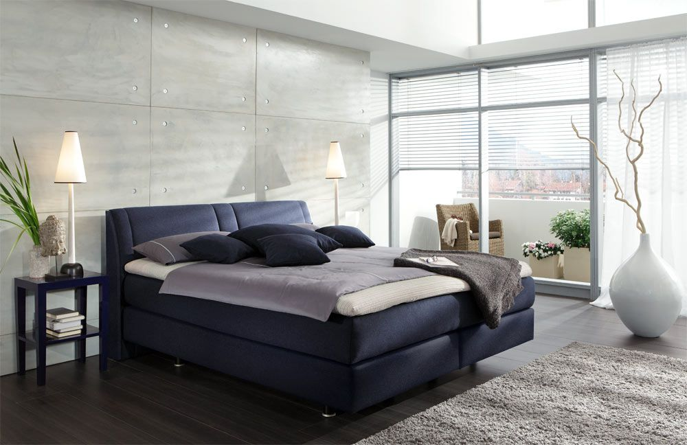 Couture Von Femira   Boxspringbett Chicago Blau