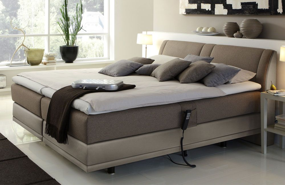 boxspringbett mit motor femira couture in braun beige m bel letz ihr online shop. Black Bedroom Furniture Sets. Home Design Ideas